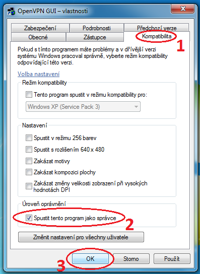OpenVPN konfigurace Windows 7